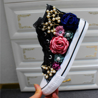 FOORAABO Brand Luxury Handmade Camellia Flats Small White Shoes String beading Espadrilles Women Riband Lace Up All match YP 65