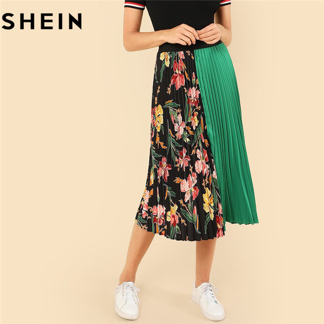 86b29f3dc6 SHEIN Summer Knee-Length Mid Waist Floral Boho Women Pleated Skirt 2018  Fashion Polyester Clothing Eelastic Waist Vacation Skirt