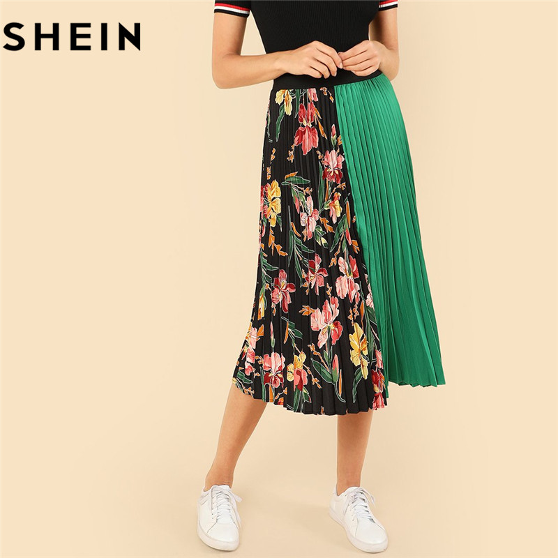 SHEIN Summer Knee-Length Mid Waist Floral Boho Women Pleated Skirt 2018 Fashion Polyester Clothing Eelastic Waist Vacation Skirt