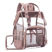 ABDB Fashion Transparent Waterproof Backpacks Clear Pvc Zipper School Bags For Teenage Girls Travel Bag
