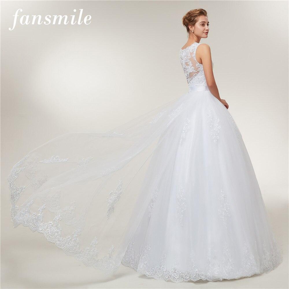Fansmile Lace Ball Gowns Wedding Dress Bridal Vintage Wedding Dress 2020 Train Vestido De Noiva Custom-made Plus Size FSM-402T