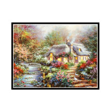 Oneroom ,Needlework,DIY DMC Cross stitch,Sets For Embroidery kit 14ct unprinted cotton thread garden house Cross-Stitching(China)