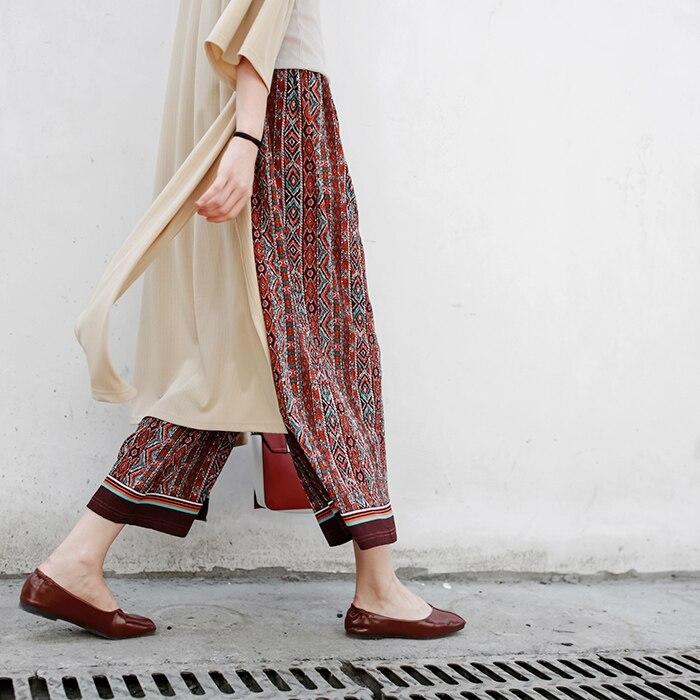 high quality Bohemian national wind loose chiffon   wide     leg     pants   female summer Soft   pants   casual   pants   beach skirt   pants