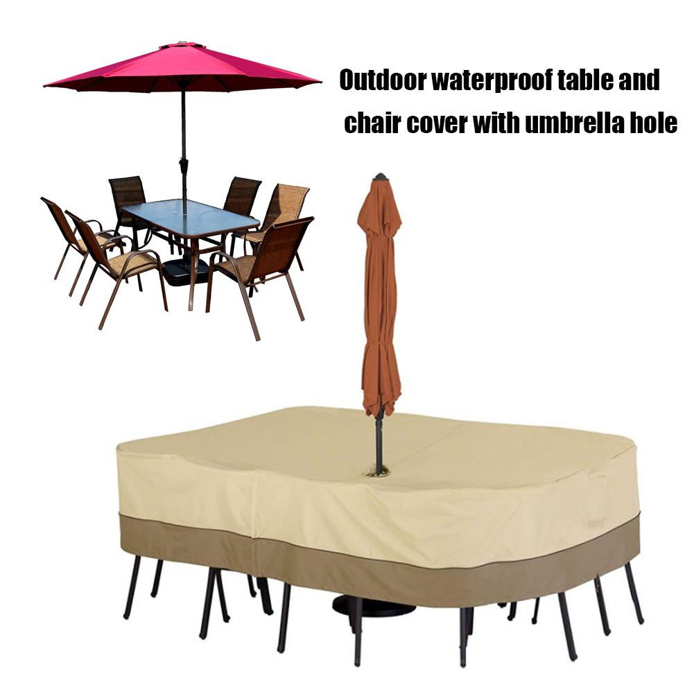Outdoor Furniture Dust Cover Table Chair Waterproof Cover With Umbrella Hole For Outdoor Garden Furniture Dust-proof Cover 20E