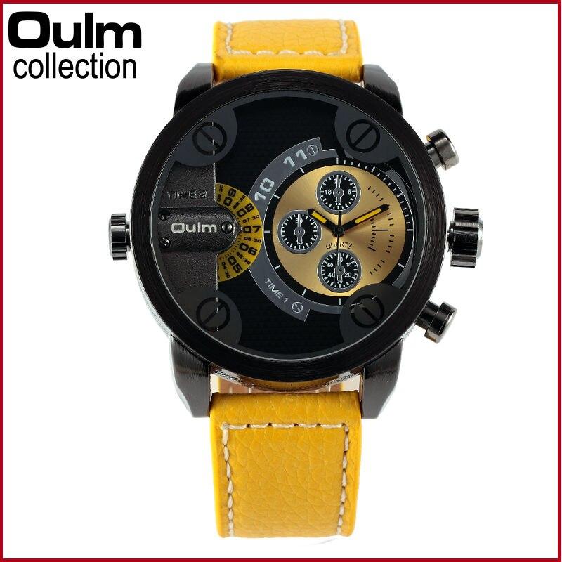 High Quality Male Business Classic 9 Colors Leather Strap Oulm Brand Watch Dual Time Japan Quartz Men Army Wristwatch 2016 Hot oulm 3597 male quartz watch dual movt multifunctional wristwatch