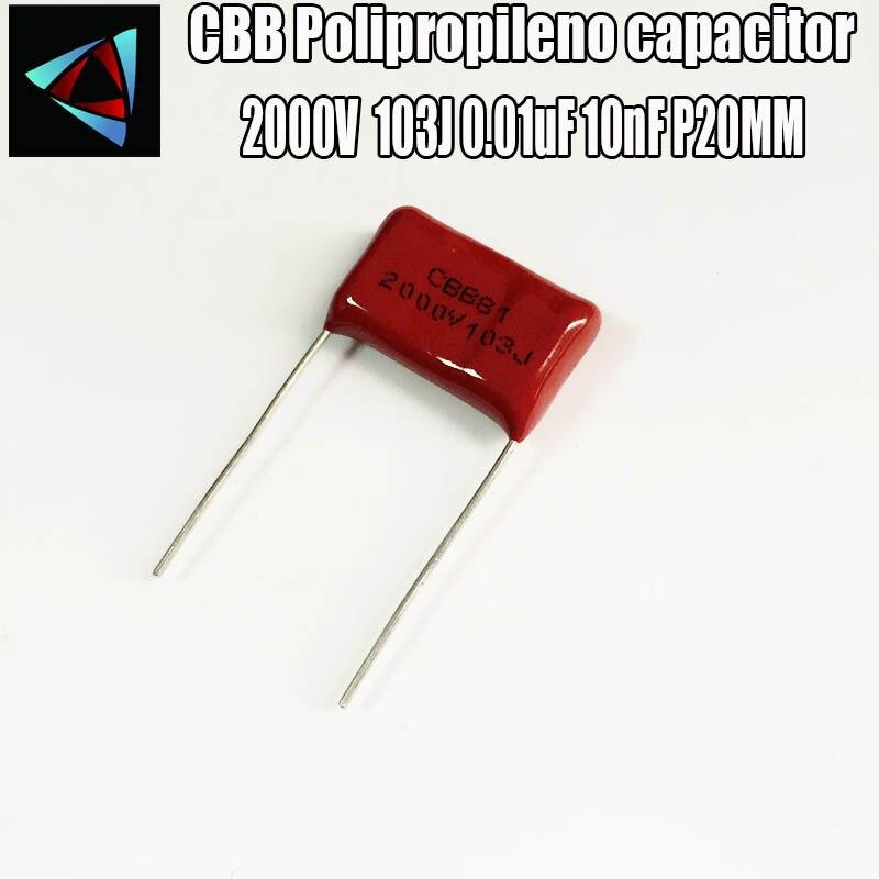 6PCS 2000V 2KV 103J 0.01uF 10nF P20 Polypropylene Film Capacitor Pitch 20mm