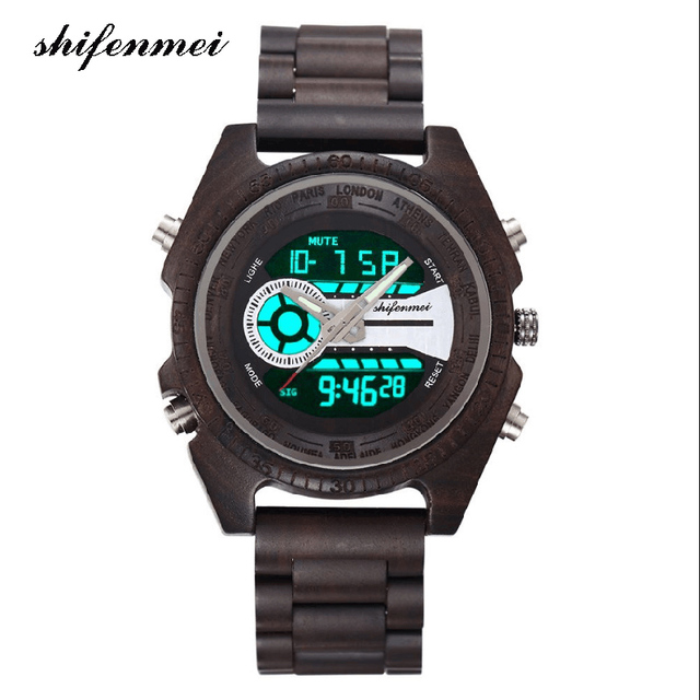 shifenmei S2139 Antique Natural Digital Men Watches LED display Wristwatches Woo