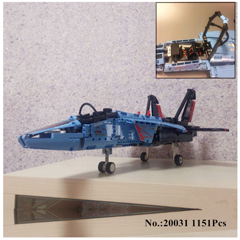 H&HXY Free Shipping 20031 1151pcs Technic Series The jet racing aircraft Model Building Kits  Brick lepin Toys Compatible 42066 lepin 20031 technic the jet racing aircraft 42066 building blocks model toys for children compatible with lego gift set kids