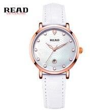 LEER Nuevas señoras de la manera reloj de las mujeres de cuero blanco relojes de cuarzo R2012