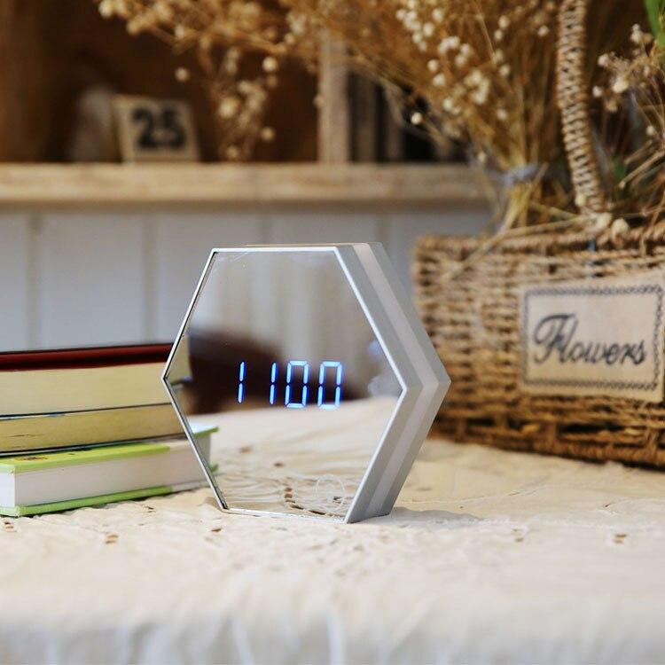 Fashion Multi-function Mirror Digital Table Clock Creative Desk LED Eye-protection Night Light Makeup