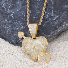 1PC Hip hop love pendant with a heart shape Zircon Cupid Arrow Ornament Couple lover gift