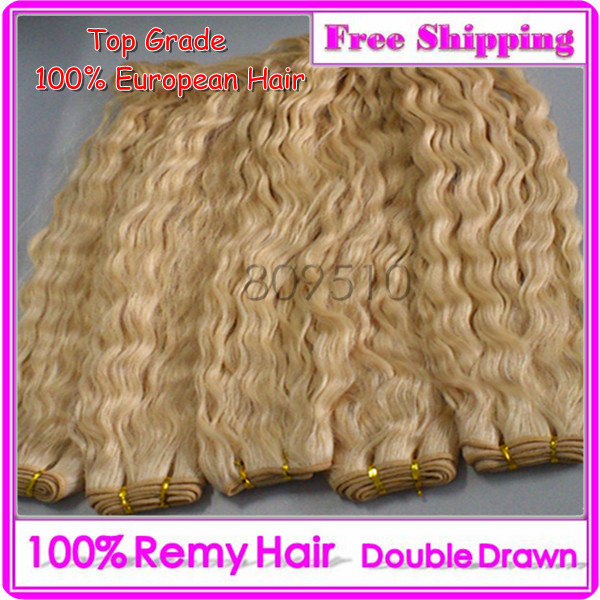 4pcs/Lot Slavic Remi Double Drawn Hair Weft 613# Natural Hair Extension 20 inch Blonde Jerry Curly DHL Free Shipping Hair Ring
