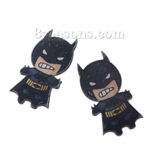 Bonito Dos Desenhos Animados Batman forma Acrílico preto Ícone Mochila Roupas Crachá Decoração emblemas Pinos Broche Broches