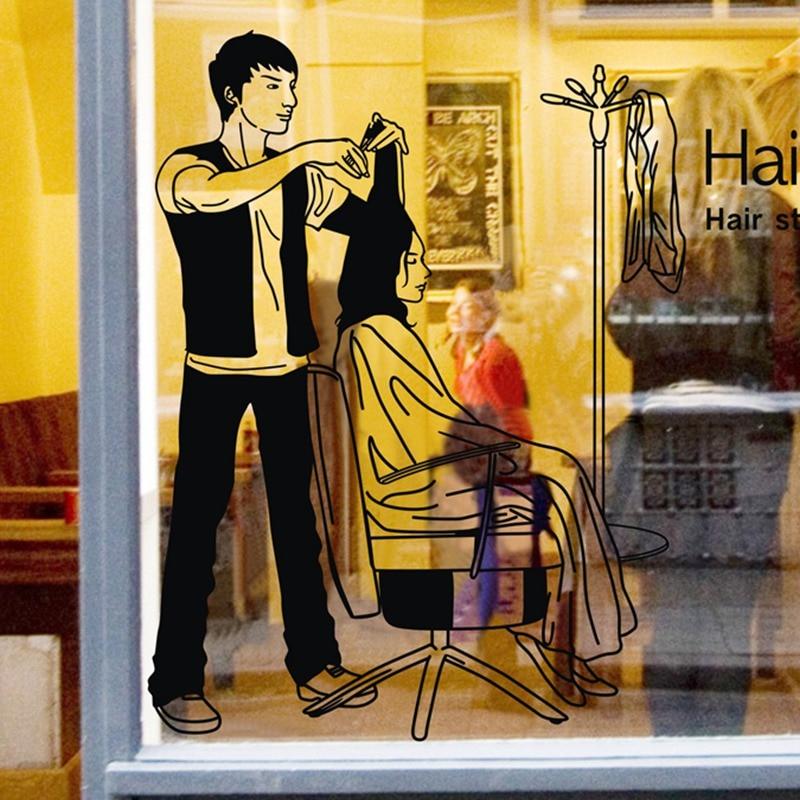 Hairdresser font b Sex b font Girls Lady Hair Salon Name Wall Sticker Hair Cutting Wall