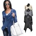Женщины Пончо с длинным рукавом 4 цвета офис Пальто Куртки Нерегулярные Кардиган о-образным вырезом свободные осень стиль повседневная Топ наряды QAF488E