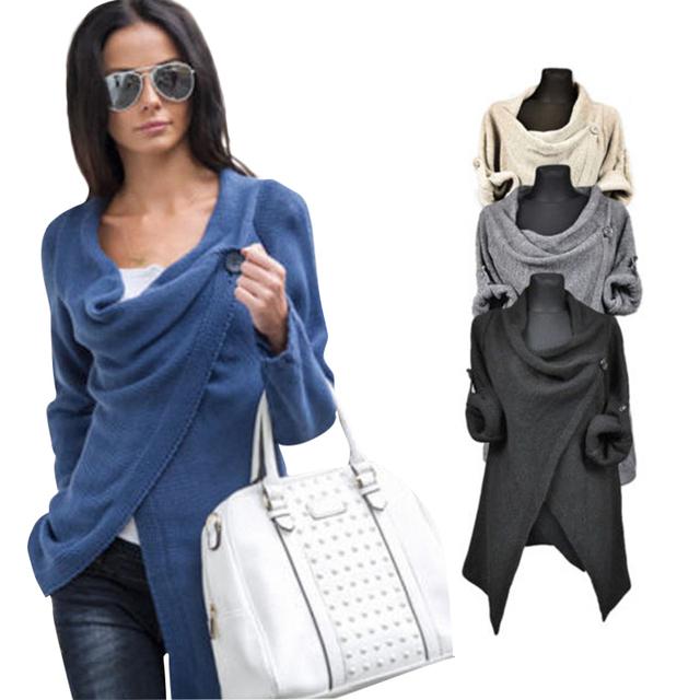 Mulheres Poncho Casaco Jaqueta de manga longa 4 cores escritório QAF488E Irregular Cardigan o-pescoço solto estilo casual Top roupas de outono