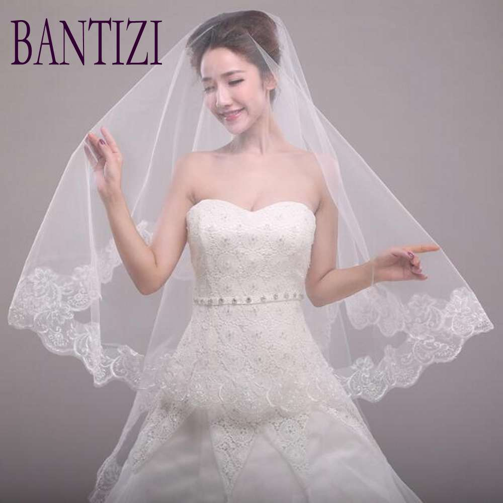 Fashion Bridal Veil Lace Edge White Wedding Dresses