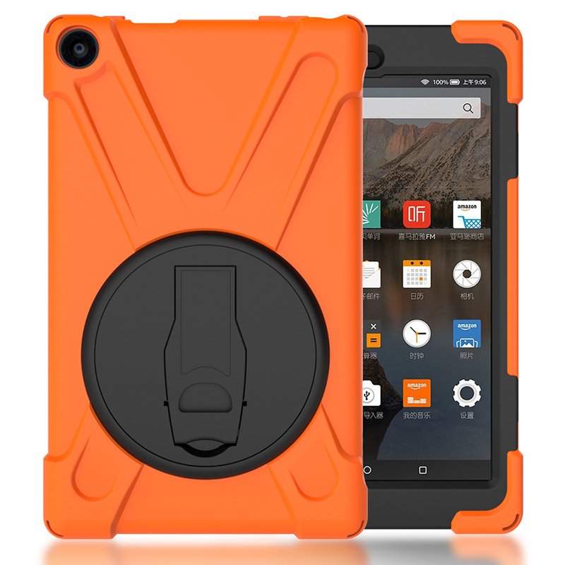 Drop Resistance Shockproof Kids Safe Silicone Case With Kickstand For Amazon Kindle Fire HD 8