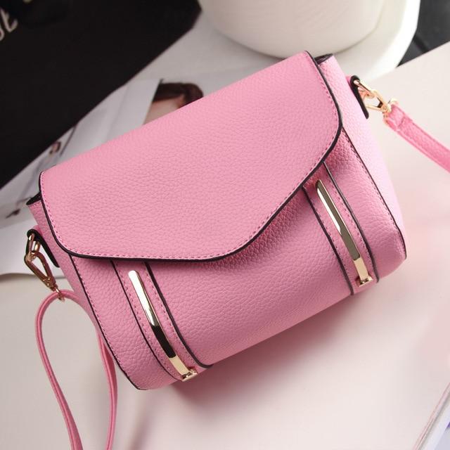 Light metal strip handbags 2016 new 4-color PU leather shoulder bag women  messenger bags free shipping 4496ec61326f8
