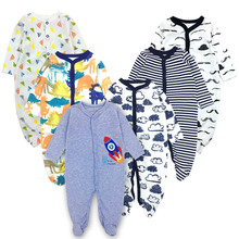 Купить с кэшбэком 6pieces/lot Baby rompers Newborn Baby Girls Boys Clothes 100% Cotton Long Sleeves Baby Pajamas Cartoon Printed Baby's Sets