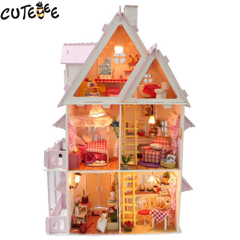 Hot Sale DIY Doll House Trä Miniatura Dollhouse Miniatyr Doll House Med Möbel Kit Villa LED Lampor Födelsedag Gåva x-001