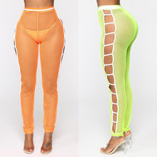 Sexy Women Pants Mesh Hollow Out Long Pant Slim Leggings Trousers Sheer Party Clothes Bikini Swimwear High Waist Ladies Trousers(China)