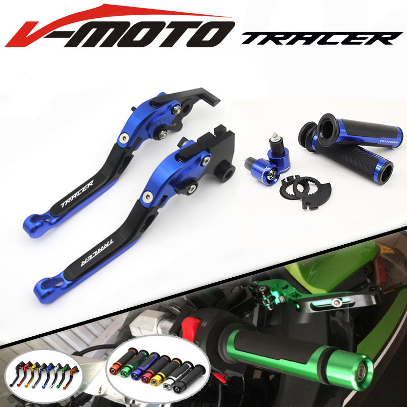 For Yamaha MT09 MT-09 MT 09 MT-07 MT 07 MT07 TRACER 2014 2015 2016 CNC Folding Brake Clutch Levers Handlebar Hand Grips 1 Set cnc billet adjustable long folding brake clutch levers for yamaha fz6 fazer 04 10 fz8 2011 14 2012 2013 mt 07 mt 09 sr fz9 2014