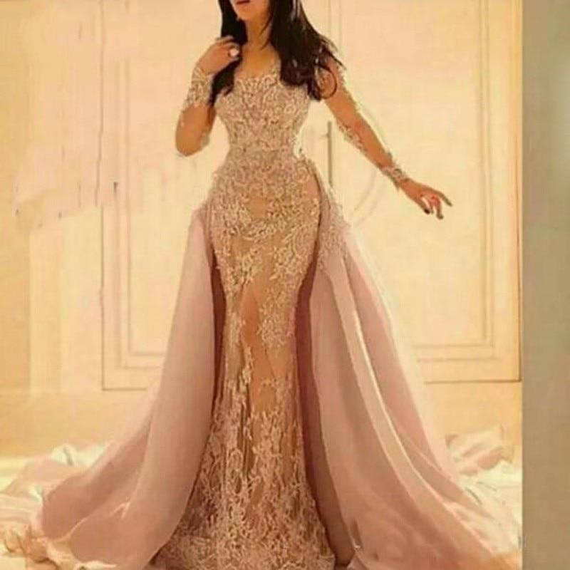 Blush Muslim Evening Dresses 2019 Mermaid Detachable Tulle Skirt Lace Islamic Dubai Kaftan Saudi Arabic Long Sleeve Evening Gown