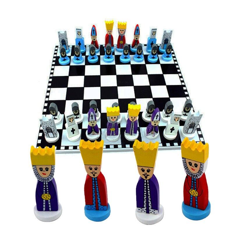 BSTFAMLY wood chess set portable international chess 30 30 0 6cm plastic chessboard king height 7cm