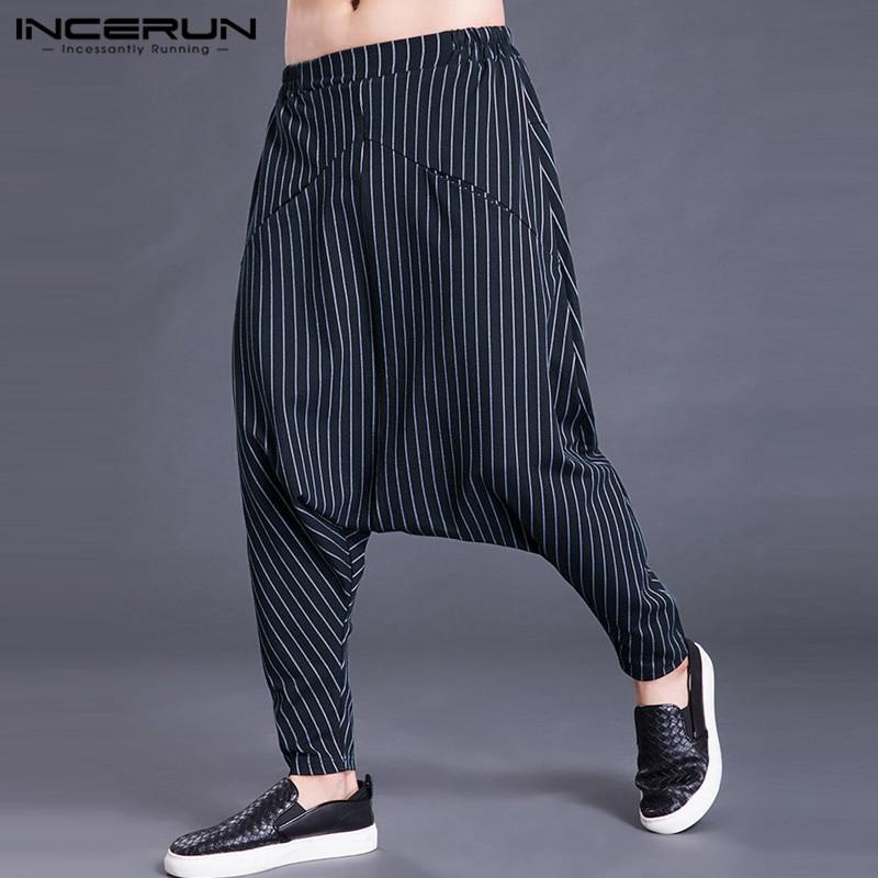2019 Autumn Men Harem Pants Joggers Stripe Casual Loose Elastic Waist Drop Crotch Streetwear Trousers Men Hip-hop Pants S-5XL
