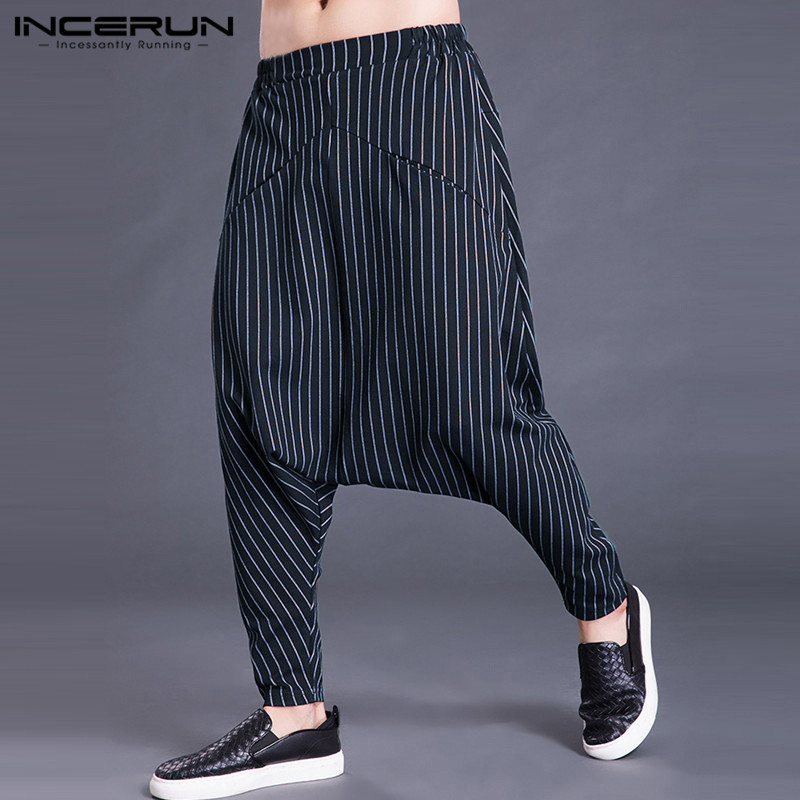 2020 Autumn Men Harem Pants Joggers Stripe Casual Loose Elastic Waist Drop Crotch Streetwear Trousers Men Hip-hop Pants S-5XL