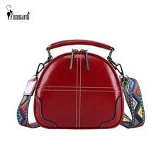 FUNMARDI Retro Oil Wax Leather Crossbody Bag Women Handbags Color Shoulder Strap Shoulder Bag Fashion Small Shell Bags WLHB1958