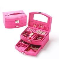 New Hot Fashion 20 15 5 10cm Storage Jewelry Box 10 Colors Leather Fabric Wedding Jewel
