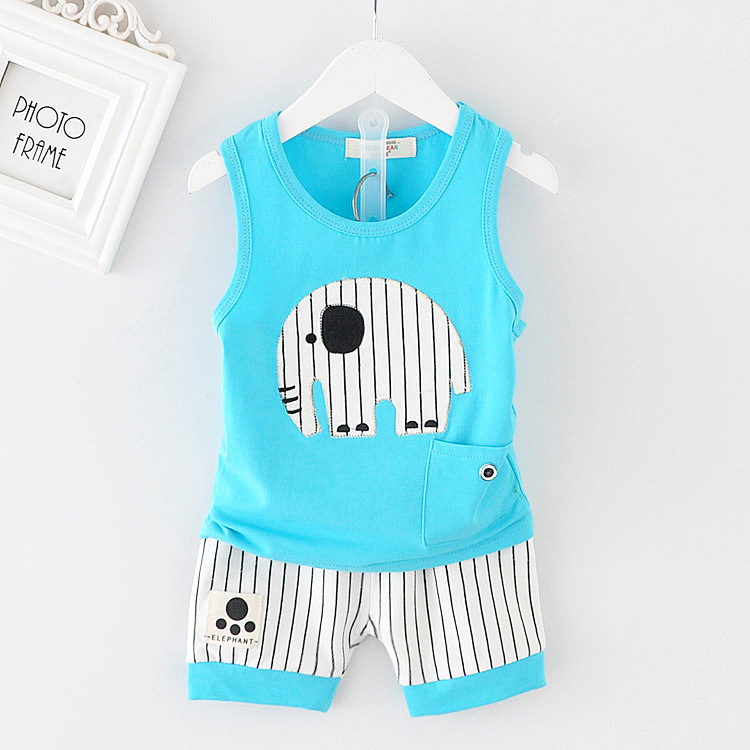 Baby Boy Clothing Set Summer Elephant Vest Tops Striped Shorts Infant Clothing Newborn Baby Girl Clothes Kids Bebes Tracksuits 2pcs children outfit clothes kids baby girl off shoulder cotton ruffled sleeve tops striped t shirt blue denim jeans sunsuit set