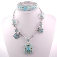 Green Crystal Zircon 925 Sterling Silver Jewelry Set Necklace Pendant Earrings Bracelet SET405