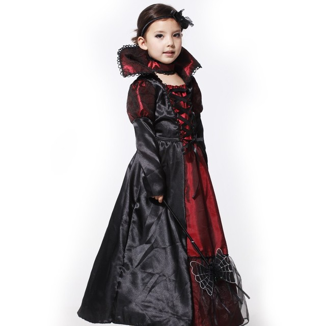 free shipping black lace gothic victorian vampire costume kids halloween costume for girls