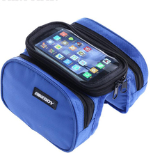 Cycling Front Frame Bag Waterproof Bicycle Bag Tube Pannier Double Pouch Touch Screen5.7 inch Phone for Cellphone bike Bag