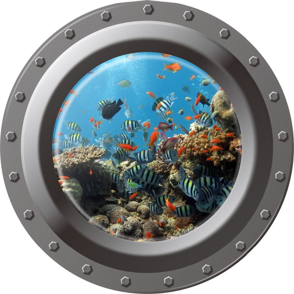 3d Ocean View window Submarine Wall Sticker Decals Porthole Graphics Sea Portal Peel stick Sea Cruise Wall Art kids Room Decor