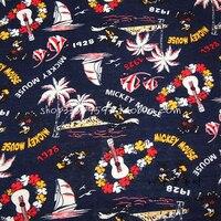 Retro tela 140*50 cm 1 unid 100% tela de algodón telas patchwork retro hawaii minnie mickey impresión de la tela de costura material de diy de la ropa