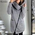 Chegada nova zanzea mulheres casacos de inverno 2017 casaco de lã ocasional da camisola hoodies de manga longa com zíper casacos com capuz plus size