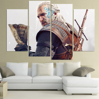 Wall Art Canvas Painting The Witcher 3 Geralt HD Printed 4 Pieces Poster Room Decor Picture