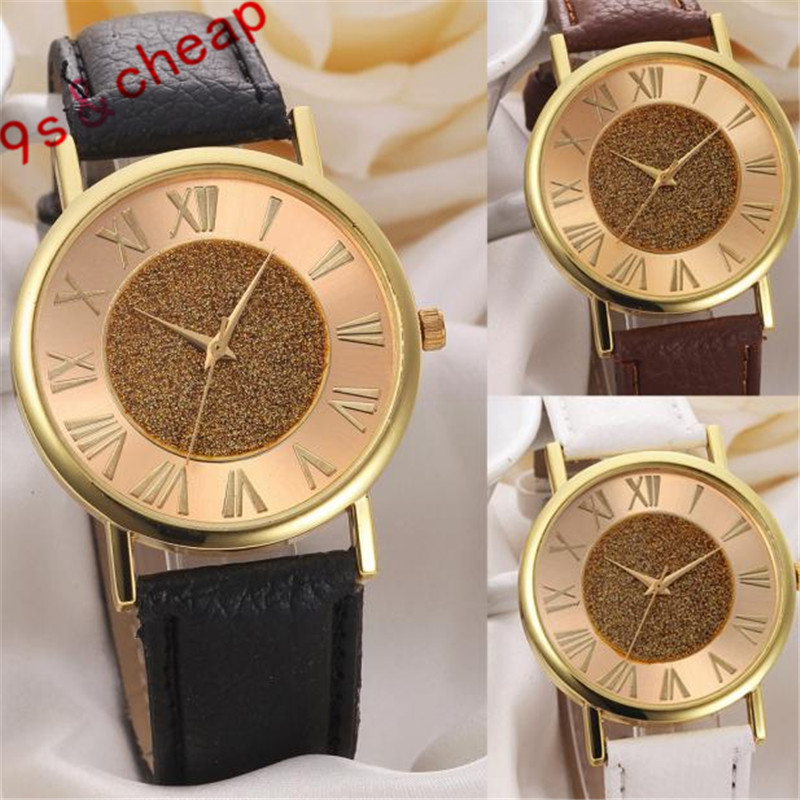 Fashion Women Glitter Dial Leather Band Analog Quartz Wrist Watch Watches #3328 Brand New Luxury High Quality Free Shipping high quality 2017 new design luxury brand man watch unisex fashion pu leather band quartz analog wrist watches watch hot sale
