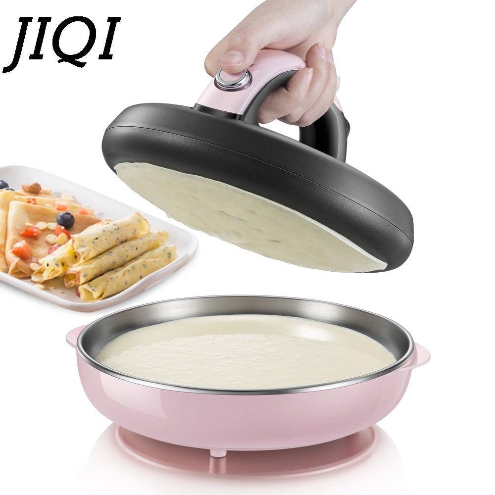 JIQI Automatic Non-stick Crepe Makers Mini Pancake Machine Pizza Maker Household Kitchen Tool Electric Baking Pan Metal Stent EU