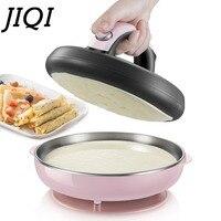 Jiqi自動ノンスティッククレープメーカーミニパンケーキマシンピザメーカー家庭用電気ベーキングパン金属ステントeu