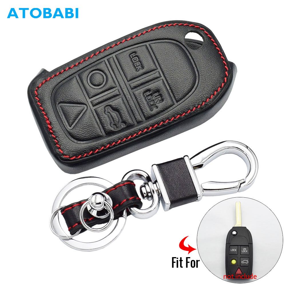 Leather Car Key Case For Volvo S80 S60 V50 V70 XC70 XC90 5 Button Remote Fob Shell Cover Keychain Protector Bag Auto Accessories