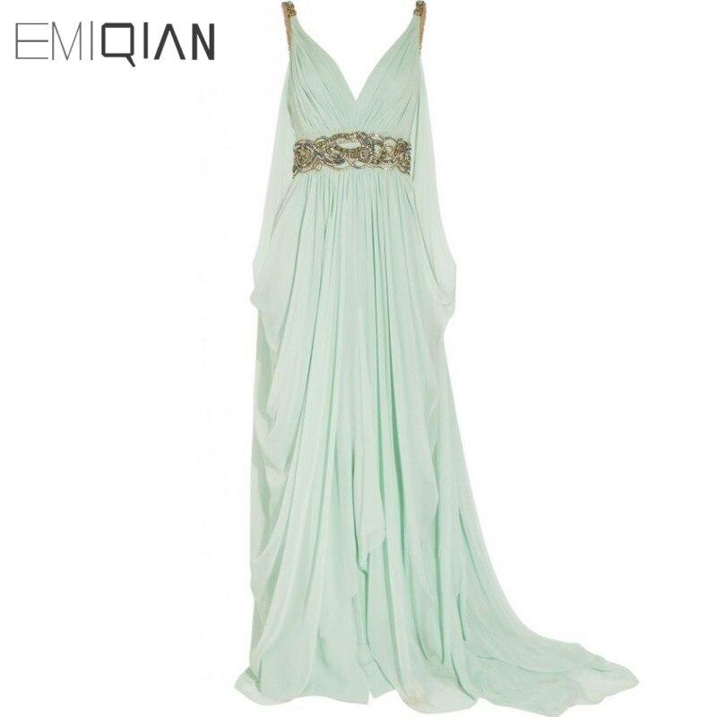 V Neck Backless Lange Chiffon Pageant Kleider, Gold Perlen Abendkleider, Formale Abendkleider