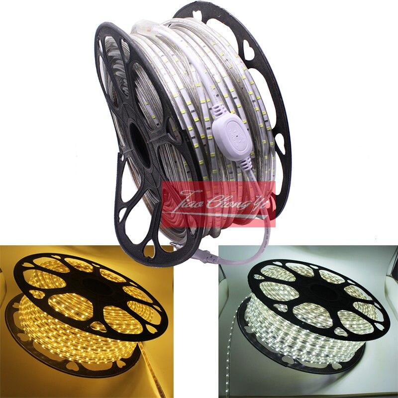 New 1M/2M/3M/5M/10M/15M LED Strip Light AC 220V SMD 2835 Flexible LED Tape 60LEDs/m Ribbon For Room