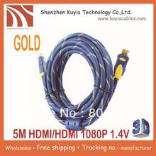 KUYiA 10PCS/LOT!! Free Shipping+HDMI TO HDMI CABLE CORD 5M 16FT Male M/M for HDTV 1.4 wholesales+Best quality