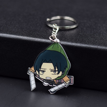 17 Styles Attack on Titan Keychain Rivaille Mikasa Eren Keyrings Fashion Jewelry Key Chains Custom made Anime Key Ring FQ1