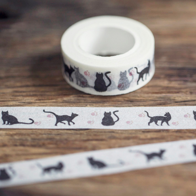 Black Cat Adhesive Washi Tape